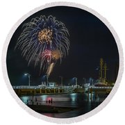 Fireworks And 17th Street Docks Round Beach Towel