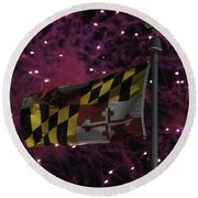 Fireworks And The Maryland Flag Round Beach Towel