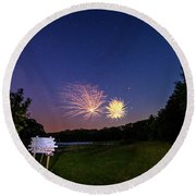 Fireworks And The Stars Round Beach Towel