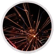 Round Beach Towel featuring the photograph Fireworks Blast #0703 by Barbara Tristan