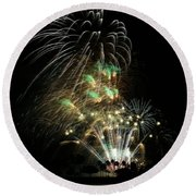 Round Beach Towel featuring the photograph Fireworks by Craig Wood
