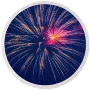 Fireworks Display II Round Beach Towel
