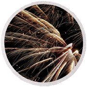 Round Beach Towel featuring the photograph Fireworks Evolution #0710 by Barbara Tristan