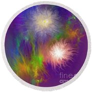 Fireworks Round Beach Towel by Greg Moores