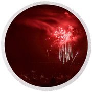 Fireworks In Red And White Round Beach Towel
