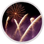 Fireworks In The Night Round Beach Towel