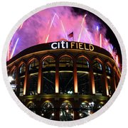 Fireworks Night At Citifield Round Beach Towel