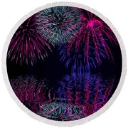 Fireworks Over Open Water 1 Round Beach Towel by Naomi Burgess