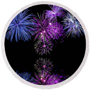 Fireworks Over Open Water 2 Round Beach Towel by Naomi Burgess