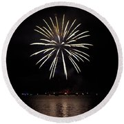 Fireworks Over Shaver Lake Round Beach Towel
