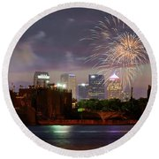 Fireworks Over Tampa 2017 Round Beach Towel