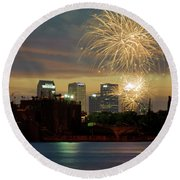 Fireworks Over Tampa 2017 II Round Beach Towel