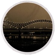 Fireworks Over The Mississippi Round Beach Towel