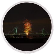 Fireworks Over The Verrazano Narrows Bridge Round Beach Towel