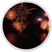 Fireworks Reflection In Water Panorama Round Beach Towel