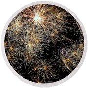 Round Beach Towel featuring the photograph Fireworks by Suzanne Stout