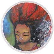 Firey Hair Girl Round Beach Towel