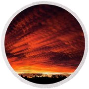 Fiery Sky 7 Round Beach Towel