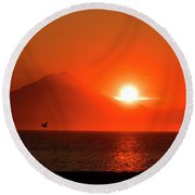 Firey Sunset On Mt Redoubt Volcano Alaska Round Beach Towel