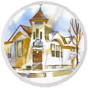 Round Beach Towel featuring the painting First Baptist Church In Winter by Kip DeVore