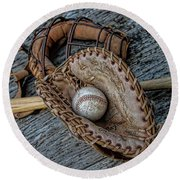 First Base Round Beach Towel by Pat Cook