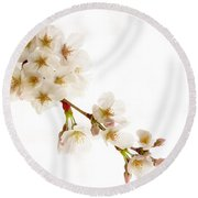 Round Beach Towel featuring the photograph first blossoms on the Basin by Edward Kreis