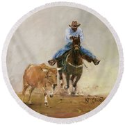 First Bulldogger Bill Picket Oil Painting By Kmcelwaine  Round Beach Towel