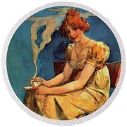 First Cup C1890 Round Beach Towel by Padre Art