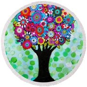 Round Beach Towel featuring the painting First Day Of Spring by Pristine Cartera Turkus