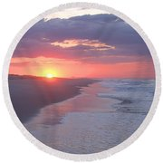 Round Beach Towel featuring the photograph First Daylight by Newwwman