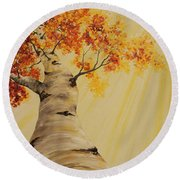 First Fall Light Round Beach Towel