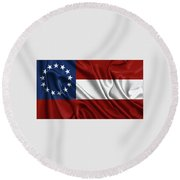First Flag Of The Confederate States Of America - Stars And Bars 1861-1863 Round Beach Towel