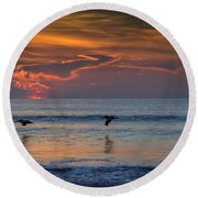Round Beach Towel featuring the photograph First Flight First Light by Steven Sparks