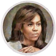 First Lady Michelle Obama Round Beach Towel by Wayne Pascall