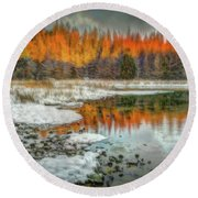 First Light At 3 Springs Round Beach Towel