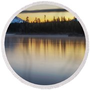 Round Beach Towel featuring the photograph First Light At Lava Lake by Cat Connor