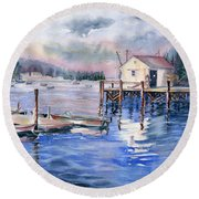 The First Light Of Dawn At Port Clyde Maine Round Beach Towel
