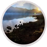 Round Beach Towel featuring the photograph Daybreak by Cat Connor