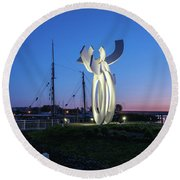First Light At The Waterfront Round Beach Towel