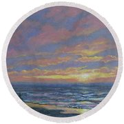 First Light - Golden Mile Round Beach Towel by Kathleen McDermott