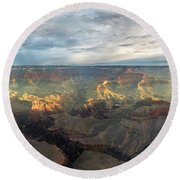 First Light In The Canyon Round Beach Towel