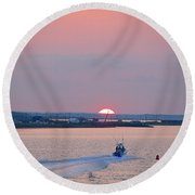 First Light Round Beach Towel by  Newwwman