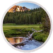 First Light On Lassen From Upper Meadow Round Beach Towel