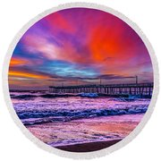 Round Beach Towel featuring the photograph First Light On The Beach by Nick Zelinsky