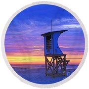 First Light On The Beach Round Beach Towel