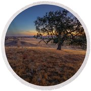First Light On The  Canyon Ranch Round Beach Towel