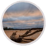 First Light On The Kaw Round Beach Towel