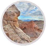 First Light On Valley Of Fire Round Beach Towel by Ray Mathis