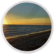 Round Beach Towel featuring the photograph First Light by Paul Mashburn