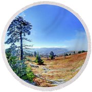 Round Beach Towel featuring the photograph First Light Snow by George Randy Bass